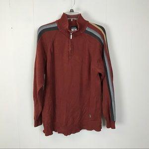 Columbia mens rust color 1/4 zip sweater L